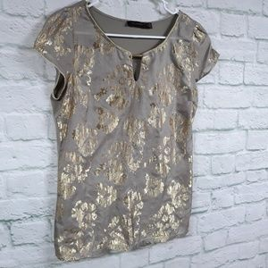 The Limited taupe & gold metallic top size medium